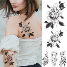 Waterproof Temporary Tattoo Sticker Peony Flower Plum Blossom Flash Tattoos Female Black Minimalist Line Body Art Fake Tatto(China)