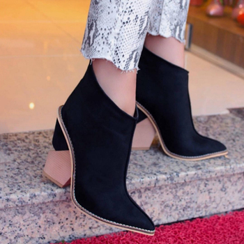 Perixir Ankle Boots Women Thick High Heels Pointed Toe Western Cowboy Female Black Blue Leather Shoes for Lady 2020 Autumn