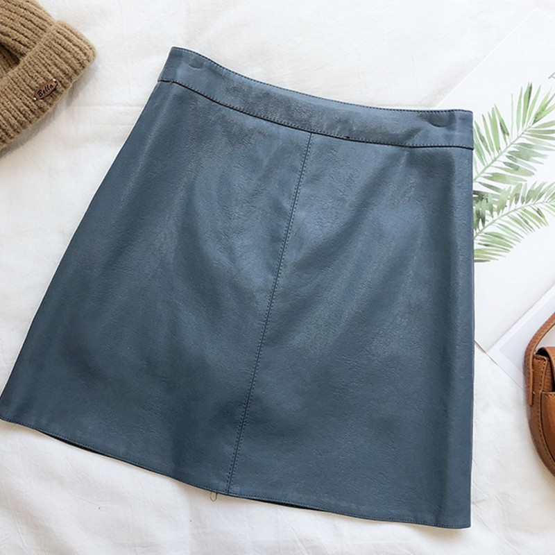 New Above Knee Mini PU Women Skirts new A word Faux leather skirt Jupe Femme Faldas Mujer image