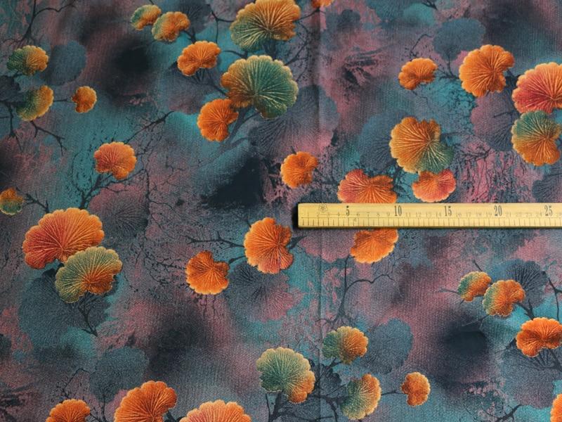 1yard*140cm Leaf Discharge Print Rayon Viscose Fabric Soft Dress Pants Material