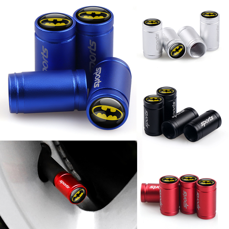 Car-Styling 4Pcs Batman LOGO Emblem Car Tires Wheel Valve Cap Dust Cover For Auto Bicycle Motorcycle Tires Accessories