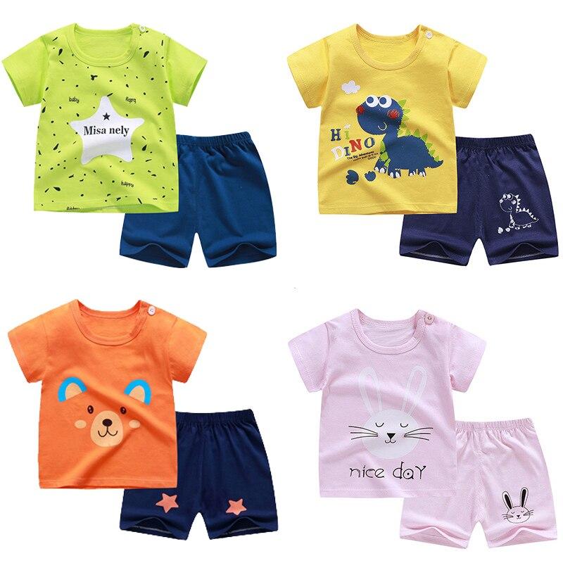 Toddler Baby Boys Summer Pajamas Outfits Clothes 1-7 Years Old Kids Cartoon Shark Print Tees Tops Shorts Set