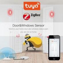 Туя ZigBee датчика Двери окна с Alexa и Google домашней умной наборы аварийной системы работы со шлюзом Tuay/смарт-приложения Life