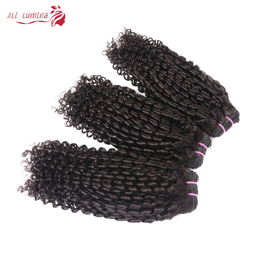 Funmi Telephone Curl 3 Bundles with 4*4 Lace Closure  Human  Hair s 3 Bundle with Closure 3