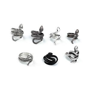 Retro Punk Snake Ring For Men Women Silver Color Unique DesignColor Opening Adjustable Rings