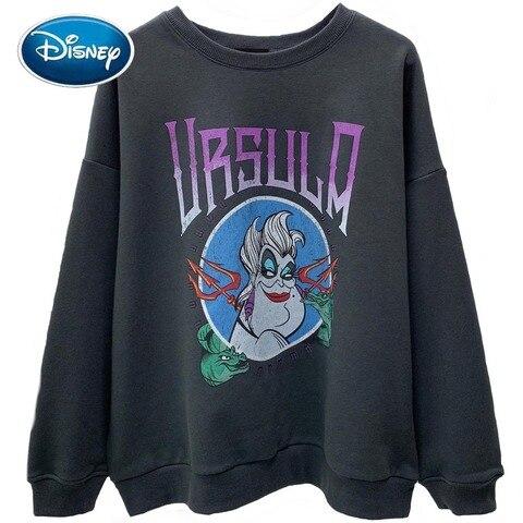 Moda a Pequena Carta dos Desenhos Disney Sweatshirt Sereia Ursula Vilões Animados Imprimir Casual Feminino O-pescoço Pulôver Manga Longa Topos