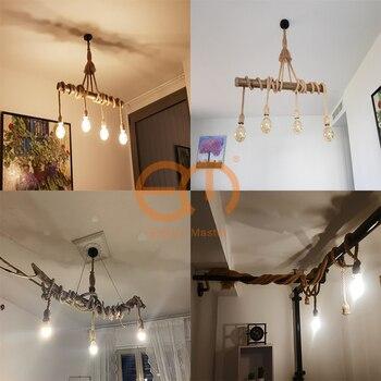 1/2/3/4/5 head vintage hemp rope pendant light retro loft industrial hanging lamp edison bulb lamp home light decoration ZDD0003 5