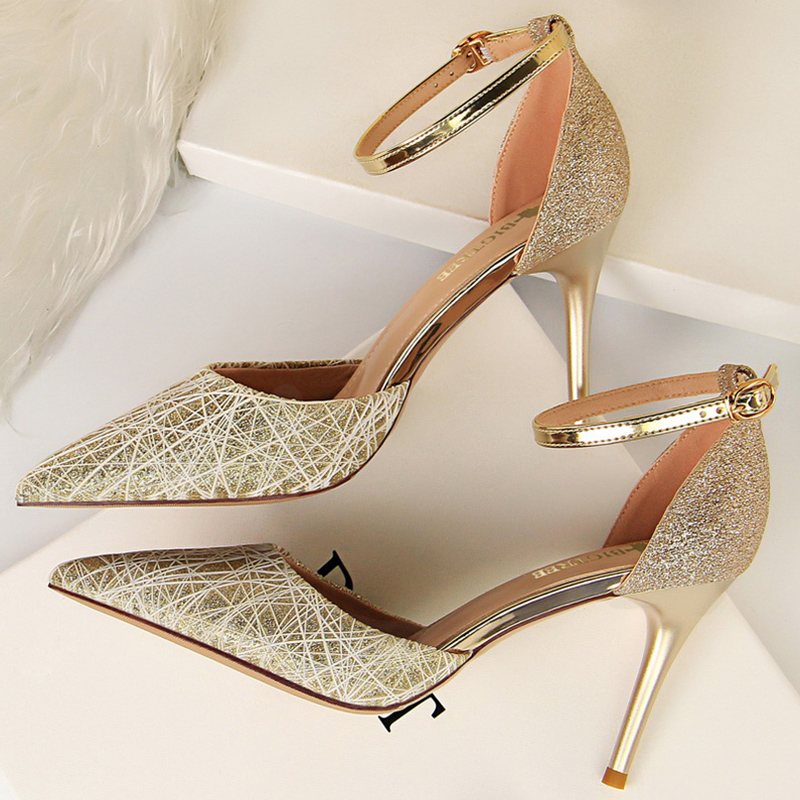 2020 Summer Strap <font><b>Sexy</b></font> Women 8.5cm High Heels Sandals Wedding Prom Stripper <font><b>Shoes</b></font> Glitter Sequins Scarpins Stiletto <font><b>Fetish</b></font> Pumps image