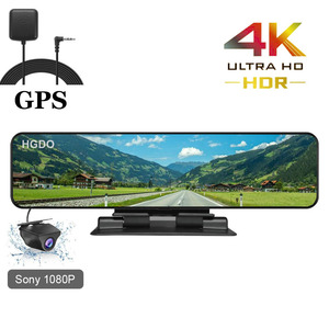 HGDO 12'' 4K 3840×2160 Car DVR GPS Track Video Recorder Sony IMX415 Rear View Mirror Camera 1080P Dashboard Cam Auto Registrar