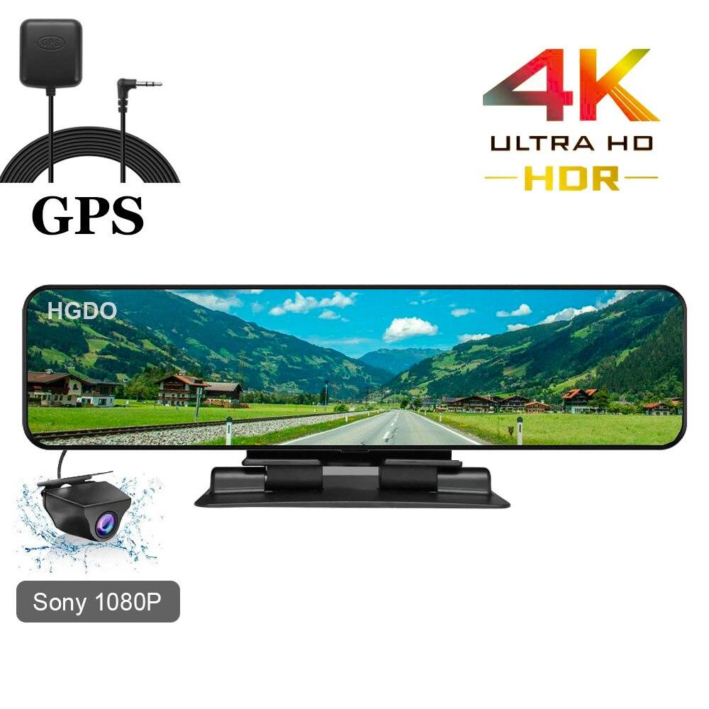 Hgdo 12 4 4k 3840 × 2160 carro dvr gps faixa gravador de vídeo sony imx415 câmera espelho retrovisor 1080p dashboard cam registrador automático