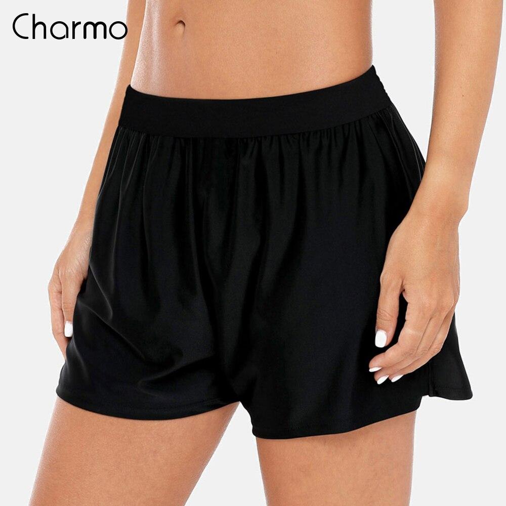 Charmo  Ladies Swimming Shorts Women Loose Fit Solid Color Bikini Bottom Ban Swimwear Briefs Boy Shorts Split Swimming Trunks