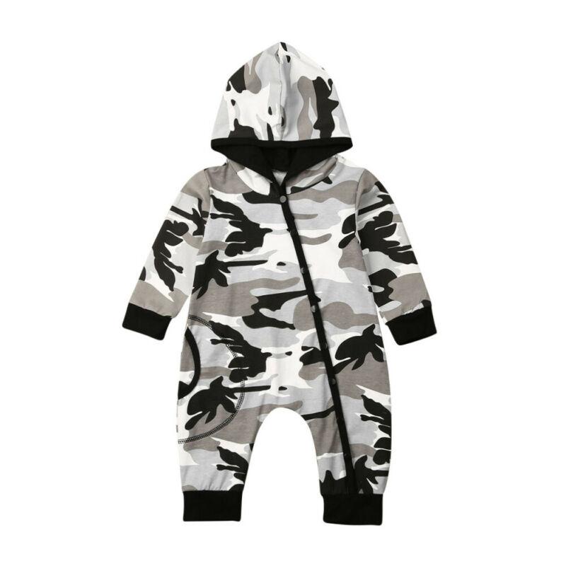 Одежда для новорожденных мальчиков; камуфляжный комбинезон с капюшоном и длинными рукавами на молнии; осенний джемпер; комбинезон
