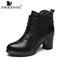 DRKANOL 2019 Autumn Winter Boots Genuine Leather High Heel Women Ankle Boots Sexy Pointed Toe Side Zipper Thick Heel Women Boots