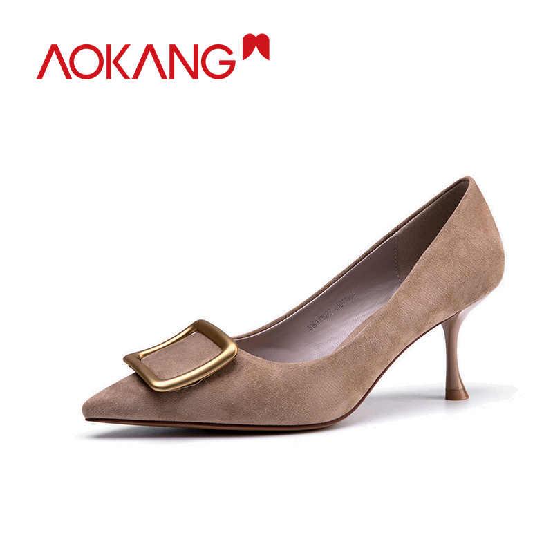 """Aokang 2020 Hàng Mới Về Người Phụ Nữ Cao Gót Nữ Mũi Nhọn Thanh Lịch Tặng BƠM BỂ BƠI Thời Trang Zapato De Mujer """"Tacon giày"""
