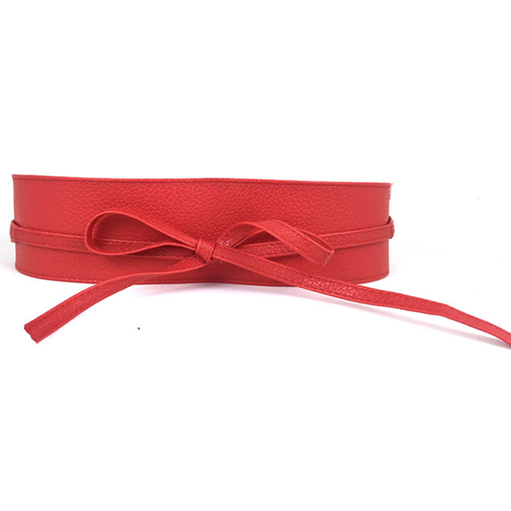 Women 2020 Wide Lace Corset Waist Belt Slim Fit Belts Bowknot Tie Girdle Faux Leather Cummerbunds Female Dress Waistband