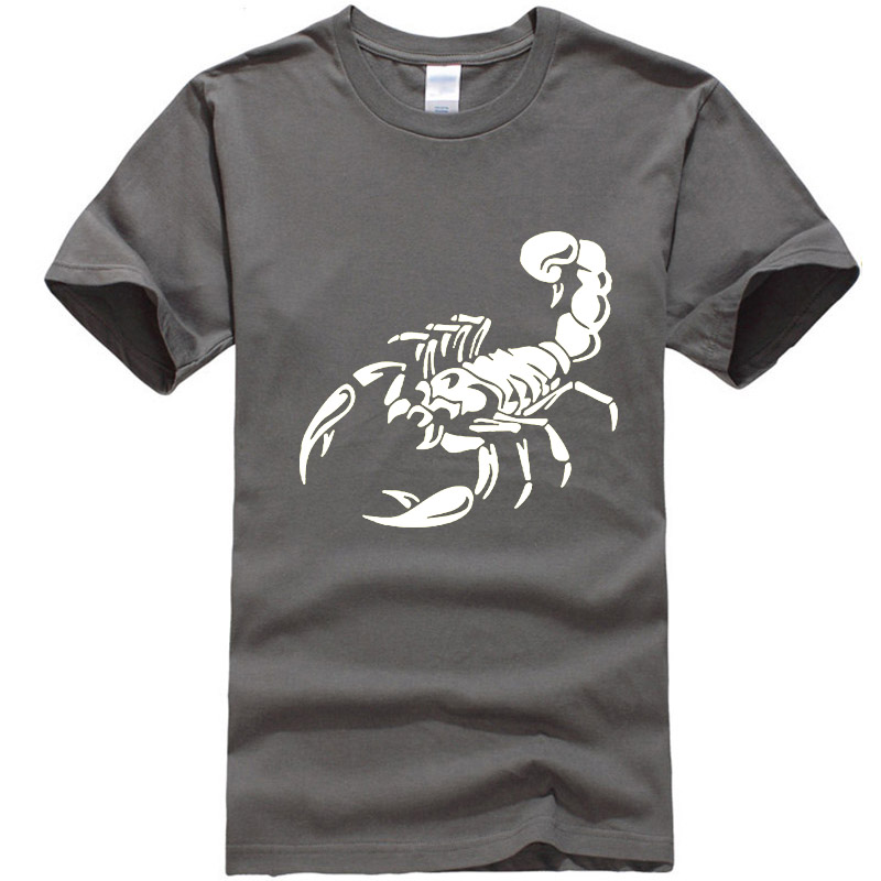 New Men's Casual High Quality 100% Cotton Short Sleeve T-Shirt Scorpion print o-neck t-shirt men casual hip hop t-shirt for men