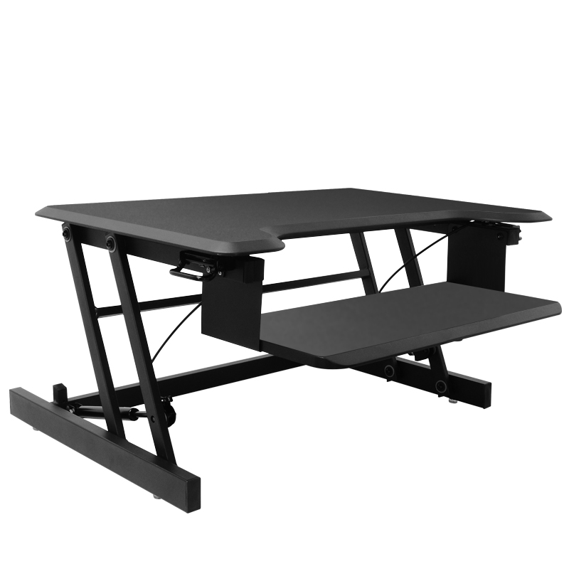 Height Adjustable Standing Desk Converter Wide Laptop Riser Or Dual Monitor Workstation Easily Sit Or Stand With Gas Spring Lift