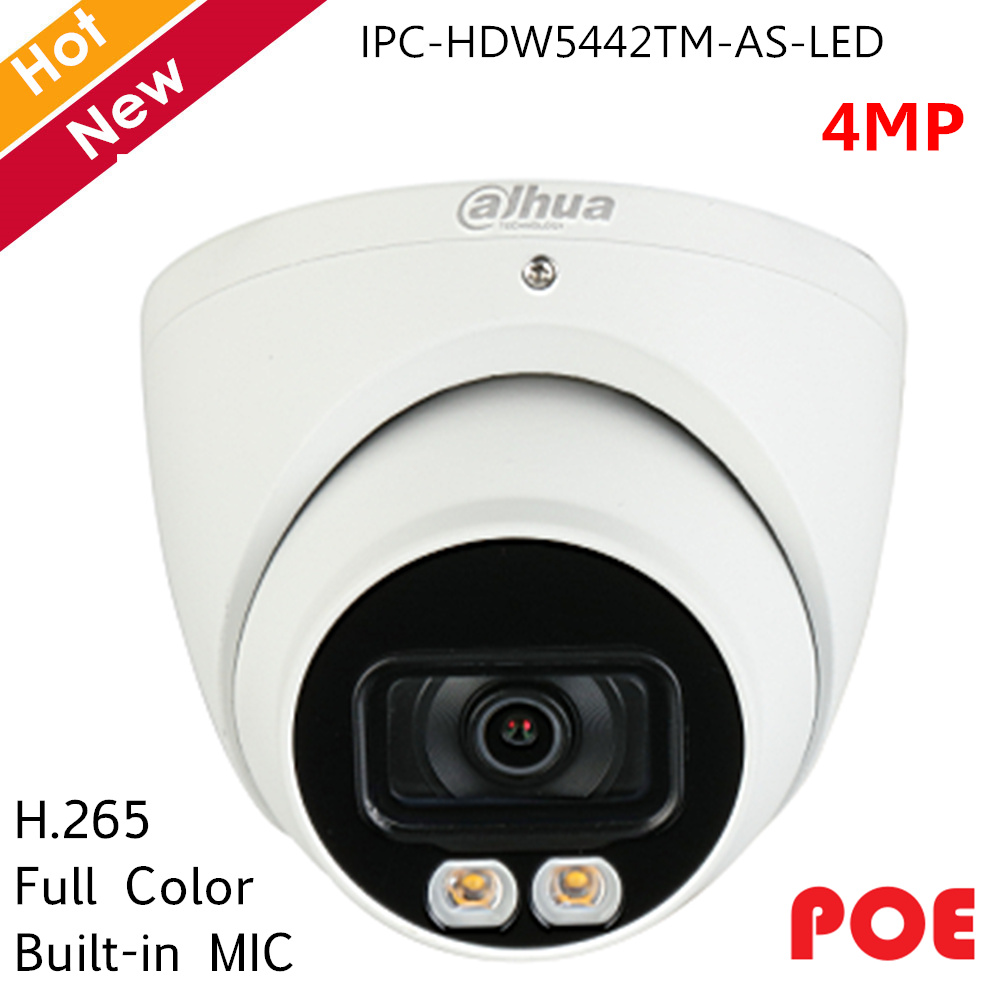 Dahua Full Color IP Camera Pro-AI Series 4MP 2 IR Leds Built-in MIC H.265 Support SD Card Security Camera