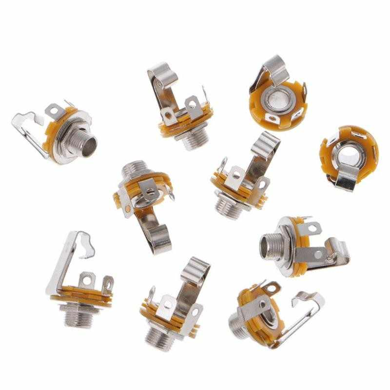 """10 Pcs Electric Guitar Input Jack For All Electric Guitar & Bass Guitar 1/4"""""""" (6.35mm) Mono Jack Socket Chrome Nut & Washer"""