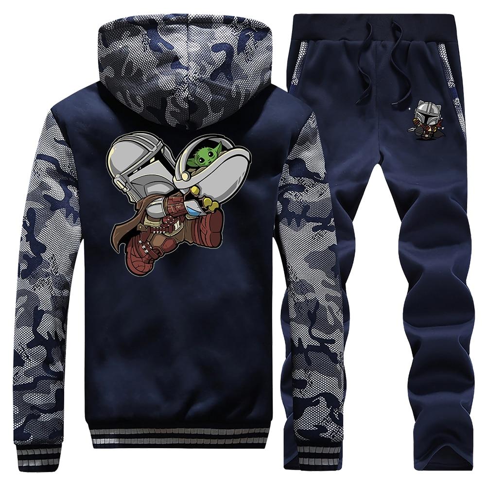 The Mandalorian Star Wars Men Set Tracksuit Thick Fleece Cool Hoodies Sweatshirt + Pants Super Mandalorian Baby Yoda Hoodie Suit
