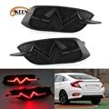 2PCS Für Honda Civic 10th X 2016 2017 2018 Auto LED Stoßstange Hinten Reflektor Licht Nebel Lampe Auto Bremse blinker Lichter