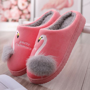 Winter Slippers Women Cute Animal Flamingo Slippers Non-slip Soft Fur Plush Warm Indoor Bedroom Home Shoes ladies furry slides