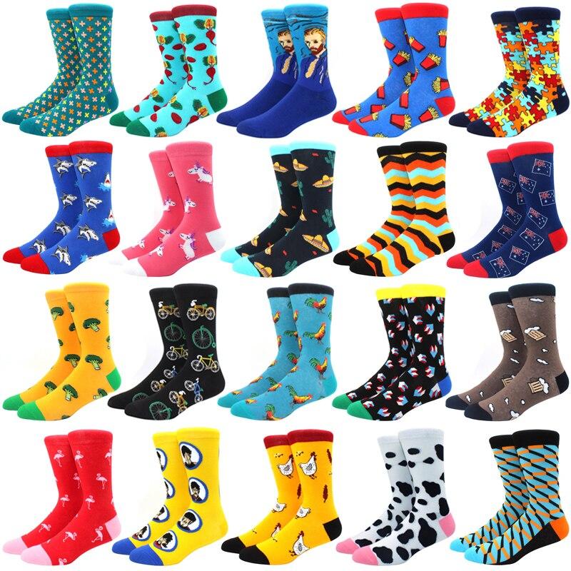 Носки мужские из чесаного хлопка, цветные Веселые забавные Длинные теплые Классические носки в стиле Харадзюку, для свадьбы, рождественски...