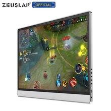 ZEUSLAP сенсорный экран портативный монитор 1920x1080 FHD IPS 15,6 дюймовый дисплей монитор аккумуляторная батарея с кожаный чехол