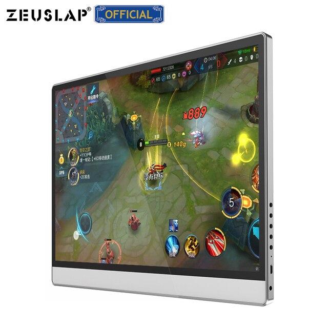 ZEUSLAP מגע מסך נייד צג 1920x1080 FHD IPS 15.6 אינץ תצוגת צג נטענת סוללה עם נרתיק עור