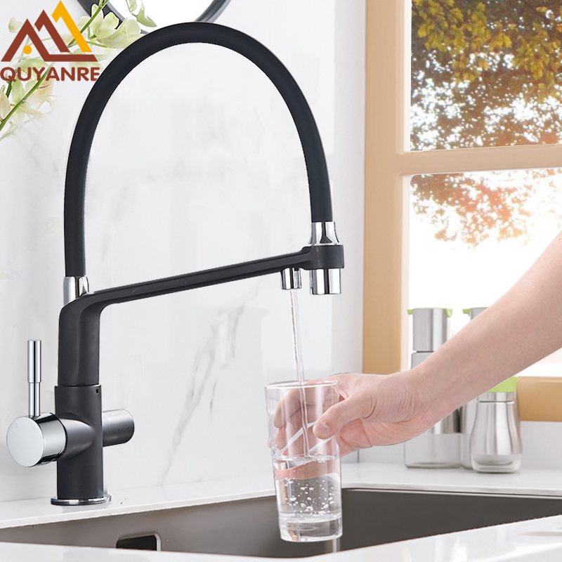 Quyanre Black White Filtered Kitchen Faucets Pull Out 360 Rotation Mixer Tap Pure Water Crane For Kitchen Filtered Water Taps