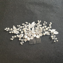 SLBRIDAL Silver Crystal Rhinestone Pearls Flower Wedding Hair Comb Bridal Headdress Accessories Women Bridesmaids Jewelry