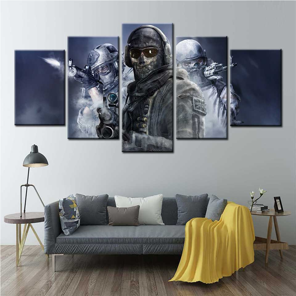 Wall Art Canvas Painting First-Person Shooter Weapon Video Games Posters And Prints for Living Room Home Decor image
