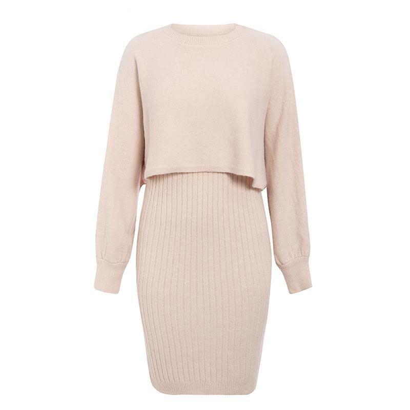 2021 Autumn Knitted Sweater O Neck Bateing Sleeve Two Pieces Women Warm Sweater And Pullover With Dress Femme Tricot Pull Femme 5