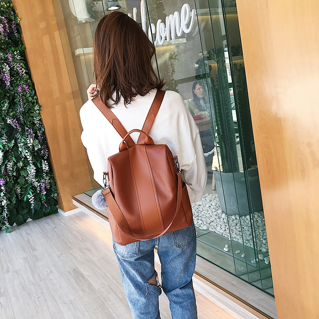 Fashion Women's Backpack PU Leather Solid Color Waterproof Mochila Travel Backpack Canta Girls Bag Back Pack
