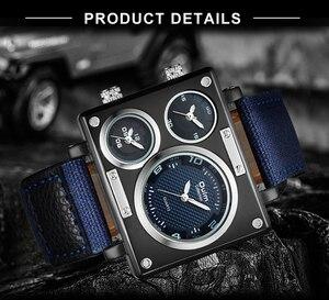 Image 4 - OULM שעון גברים למעלה מותג יוקרה קוורץ שעון יצירתי מזדמן ספורט שעונים ניילון רצועת זכר שעוני יד עמיד למים הנמכר ביותר
