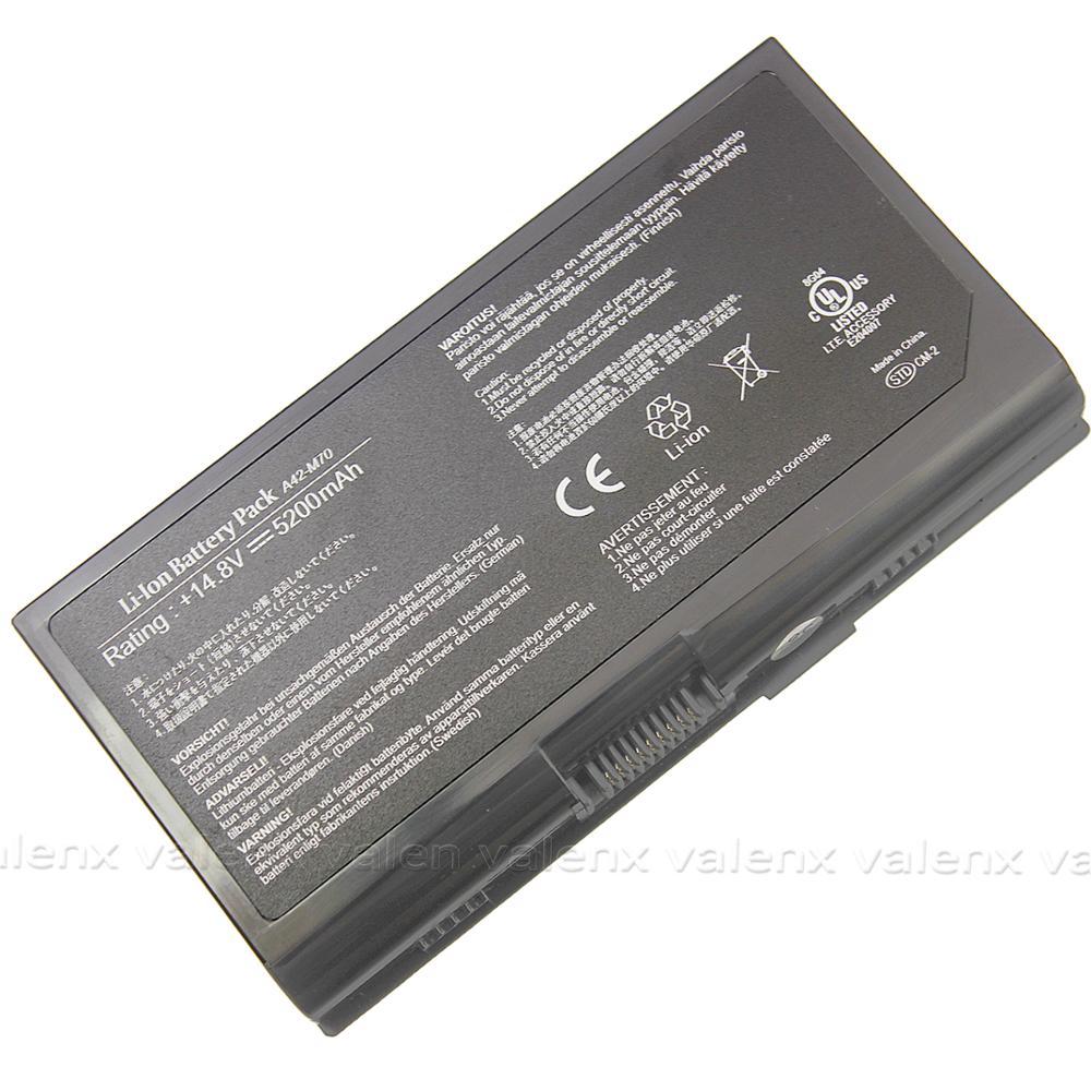5200mAh A42-M70 A32-N70 Laptop Battery For Asus X72vn F70 G71 G72 M70sa M70vn N70 N90s N90sc Pro70 X71vm Z70 Z7000a