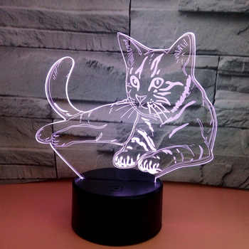 Creativity 3D Cat Night Light Ctue Lamp Touch USB small desk lamp Gifts for Girls Bedroom Decoration Happy Party