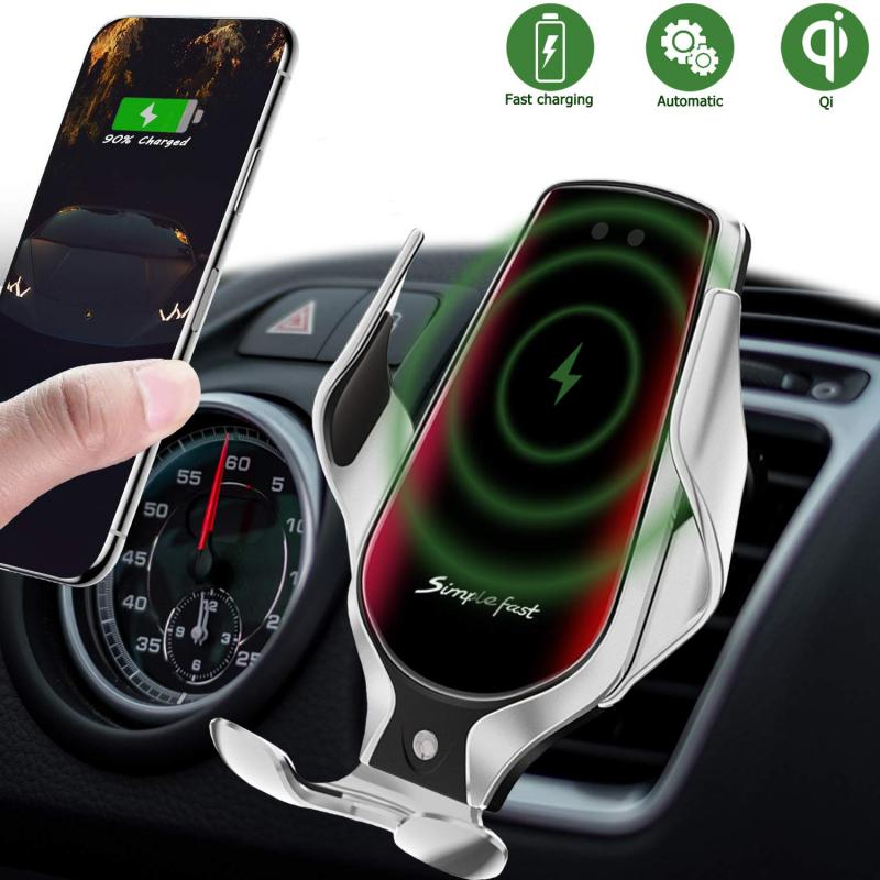 Universal Car Bracket Stand Car Phone Holder For IPhone Samsung Wireless 10W Qi Fast Car Charger Auto-Clamping Car Mounts Holder