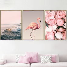 Pink Sea Wave Peony Flamingo Wall Art Print Canvas Painting Nordic Posters And Prints pictures For Living Room Decor