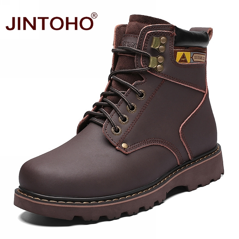 JINTOHO Male Work & Safety Leather Boots Genuine Leather Men Winter Shoes Winter Mens Ankle Boots Warm Snow Boots Work Shoes