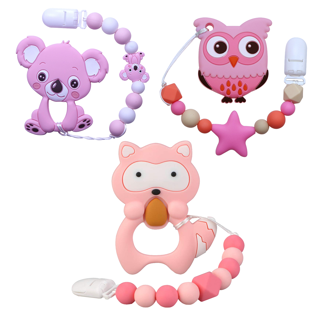 Joepada Baby Teething Necklace Lovely Koala Owl Horse Cookies Baby Teether Molar Toy Gift Raccoon Food Grade Silicone Beads