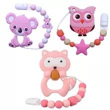 Baby Necklace Molar Gift Silicone Beads Horse-Cookies Food-Grade Koala Raccoon Joepada