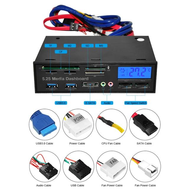 DeepFox Multifunctional USB 3.0 Front Panel 5.25'' Media Dashboard e-SATA MS CF TF SD Card Reader 3.5mm Earphone MIC Interface 2