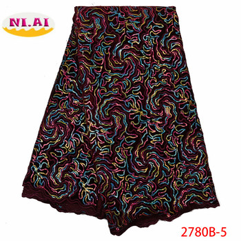 NIAI Velvet Latest African Sequins Lace Fabrics High Quality 2019 Nigerian Lace Fabric For Wedding African Lace Fabric XY2780B-5