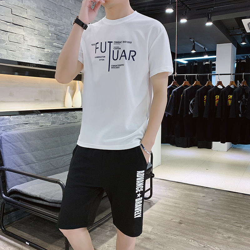 2019 New Style Summer Crew Neck Sports Set Men's Trend Korean-style Short Sleeve T-shirt Shorts Two-Piece Set Men Casual