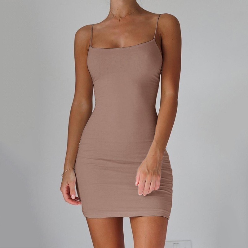 Spaghetti Strap Camisole Mini Dress Women Sexy Bodycon Club Party Dresses 2021 Summer New Pure Color Sundress Plus Size XS 5XL