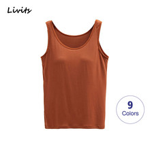 Mulher tank-top built-in sutiã acolchoado push-up stretchable topos camisoles tubo colete sem mangas sexy casual coreano sa0763