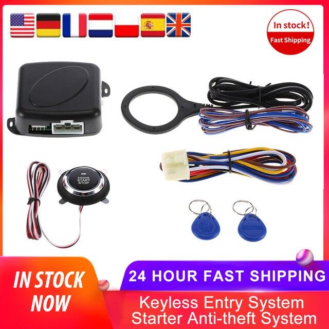 Auto Car Alarm Engine Starline Push Button Start Stop RFID Lock Ignition Switch Keyless Entry System Starter Anti theft System