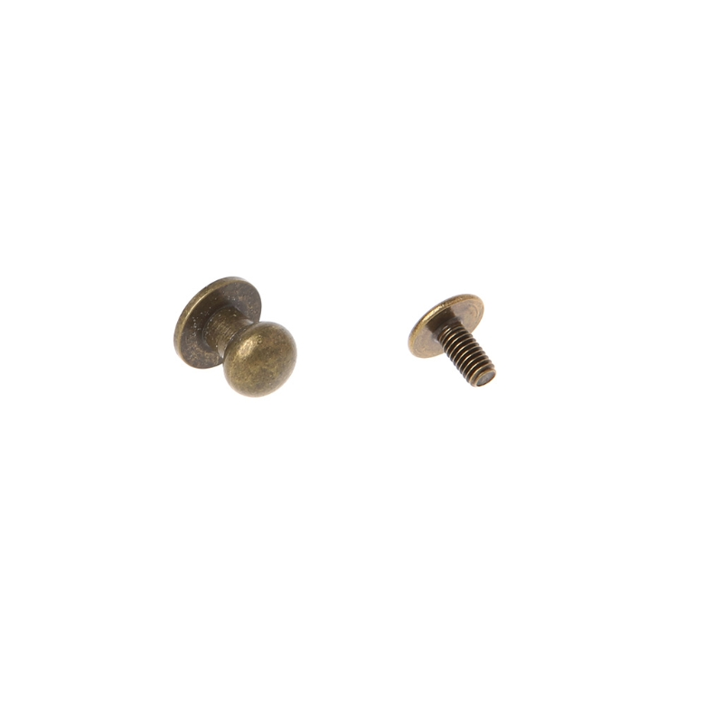 Solid Brass Rivet Round Head Button Screw Luggage Leather Brass Durable Craft M5TE