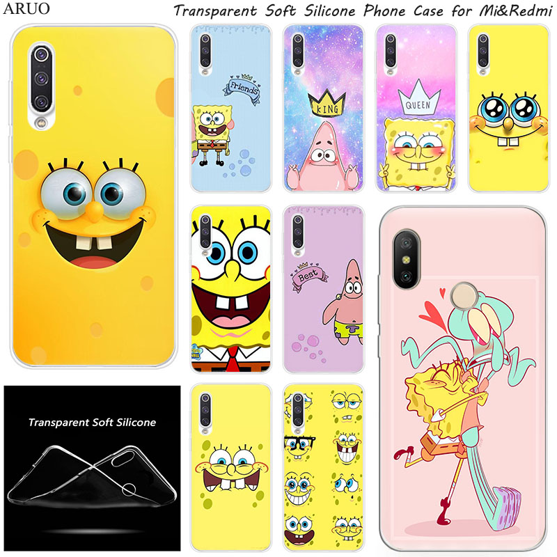 Cute Spongebob Face Silicone Phone Case For Xiaomi 10 9 SE 9T A3 A2 Lite Redmi K20 K30 7A 6A 6Pro Y3 Note 9 S 6 7 Pro 8 5 Cover
